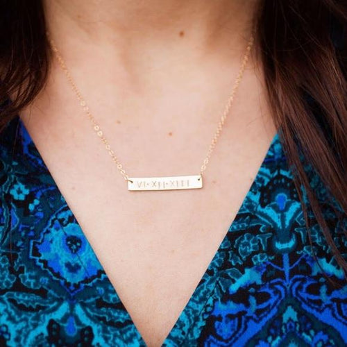 Roman Numerals Necklace in Gold Filled Personalised Necklace HK Jewellers