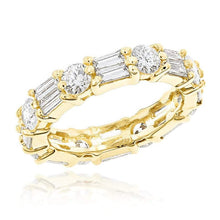 Load image into Gallery viewer, Round and Baguette Moissanite Eternity Band Wedding Band HK Jewellers