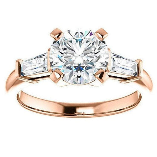 Round & Baguette Moissanite Engagement Ring Wedding Ring HK Jewellers