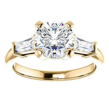 Load image into Gallery viewer, Round & Baguette Moissanite Engagement Ring Wedding Ring HK Jewellers