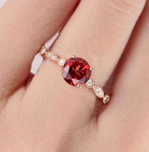 Load image into Gallery viewer, Round Cut Red Garnet Ring Garnet Engagement Ring HK Jewellers