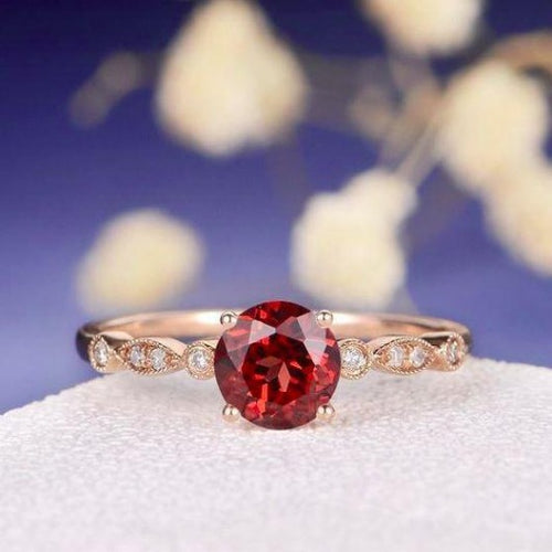 Round Cut Red Garnet Ring Garnet Engagement Ring HK Jewellers