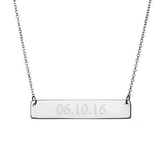 Solid Silver Personalised Name Bar Necklace Gold Filled Jewelry Gift For Love Personalised Necklace HK Jewellers