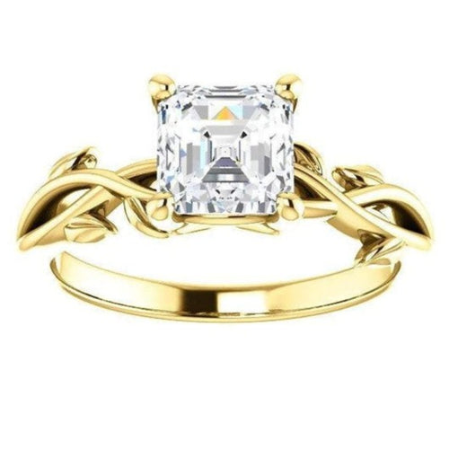 Solitaire Moissanite Leaf Engagement Ring Wedding Ring HK Jewellers