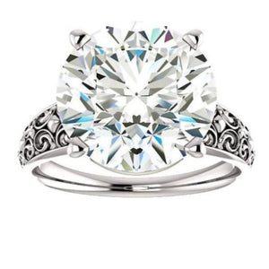 Solitaire Moissanite Wedding Engagement Ring, Wedding Ring HK Jewellers