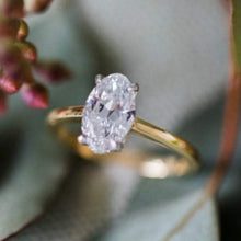 Load image into Gallery viewer, Solitaire Oval Moissanite Wedding Ring, Diamond Ring HKJ Wedding Ring