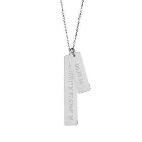 Sterling Silver Customised Coordinate Bar Chain Necklace Jewelry Gift For Her Him Personalised Necklace HK Jewellers