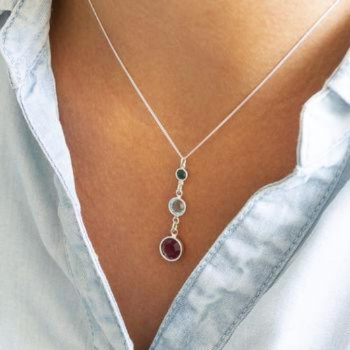 Three Generation Birthstone Silver Necklace Best Gift for her Three Birthstone Necklace HK Jewellers
