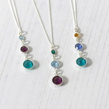 Load image into Gallery viewer, Three Generation Birthstone Silver Necklace Best Gift for her Three Birthstone Necklace HK Jewellers