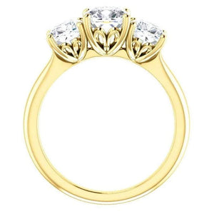 Tri -Stone Moissanite Engagement Ring Engagement Ring HK Jewellers