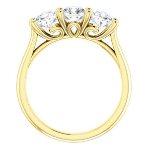 Tri -Stone Moissanite Engagement Ring Wedding Ring HK Jewellers