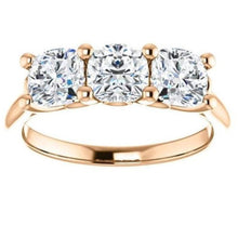 Load image into Gallery viewer, Tri -Stone Moissanite Engagement Ring Wedding Ring HK Jewellers