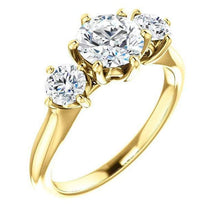 Load image into Gallery viewer, Tri -Stone Moissanite Wedding Ring Wedding Ring HK Jewellers