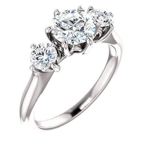Tri -Stone Moissanite Wedding Ring Wedding Ring HK Jewellers