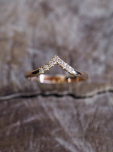 V-Shape Diamond Band Wedding Band HK Jewellers