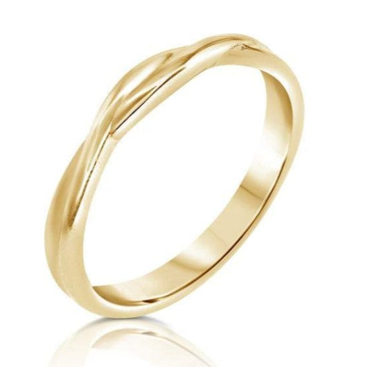 Wedding Anniversary Engagement 2 mm Twist Band 14K Solid Yellow Gold Wedding Band HK Jewellers