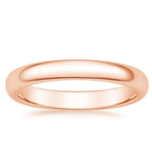 Wedding Anniversary Engagement 3mm Band 14K Solid Rose Gold Ring Wedding Band HK Jewellers