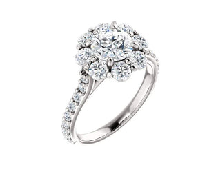 White Gold Floral Engagement Ring Engagement Ring HK Jewellers