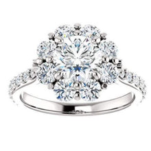 Load image into Gallery viewer, White Gold Floral Engagement Ring Engagement Ring HK Jewellers