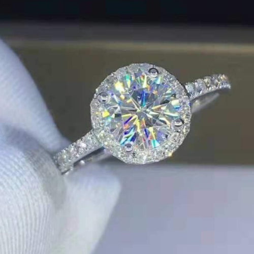White Gold Moissanite Engagement Ring Wedding Ring HK Jewellers
