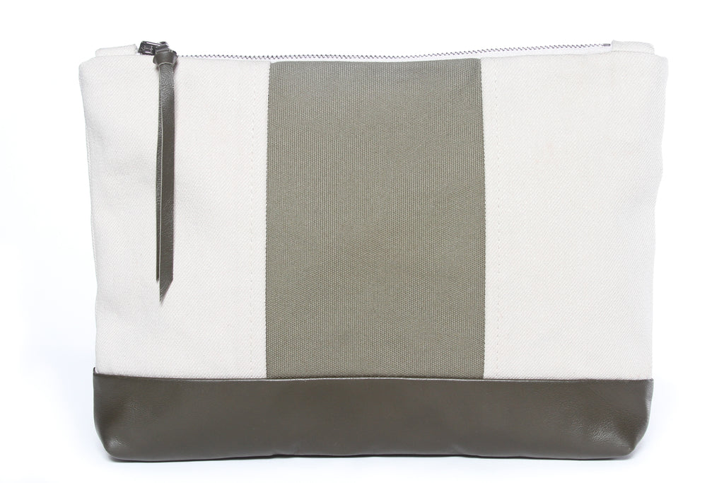 New! Wide Stripe Natural + Army Green Gado Bag