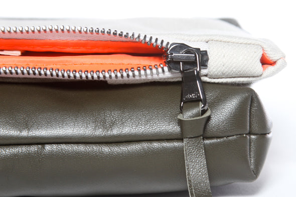Wide Stripe Natural + Army Green Gado Bag