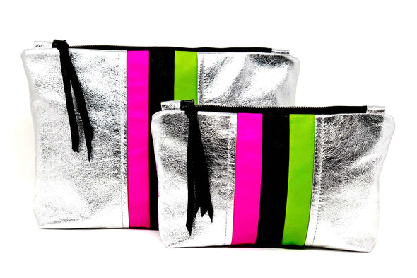 Silver Metallic Future Stripe Gado Bag