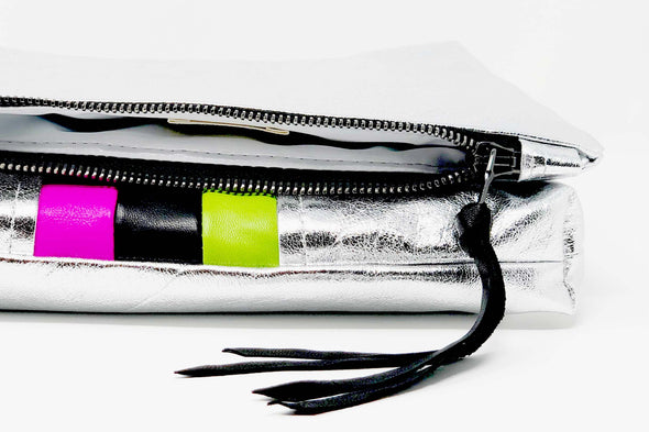 New! Silver Metallic Future Stripe Gado Bag