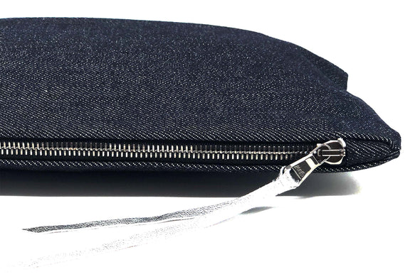 Denim + Silver Metallic Leather Gado Bag