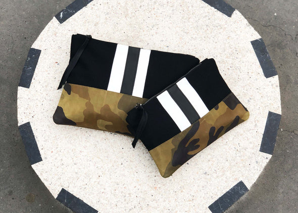Black Sport Stripe + Camouflage Leather Gado