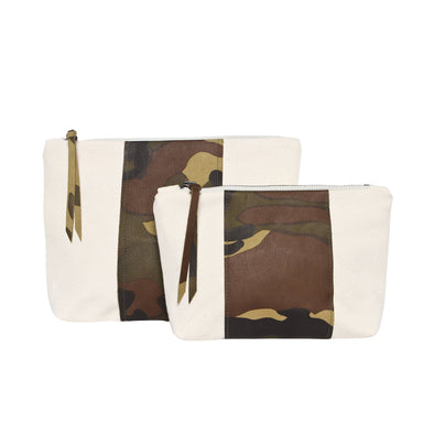 Natural + Camouflage Leather Wide Stripe Gado Bag