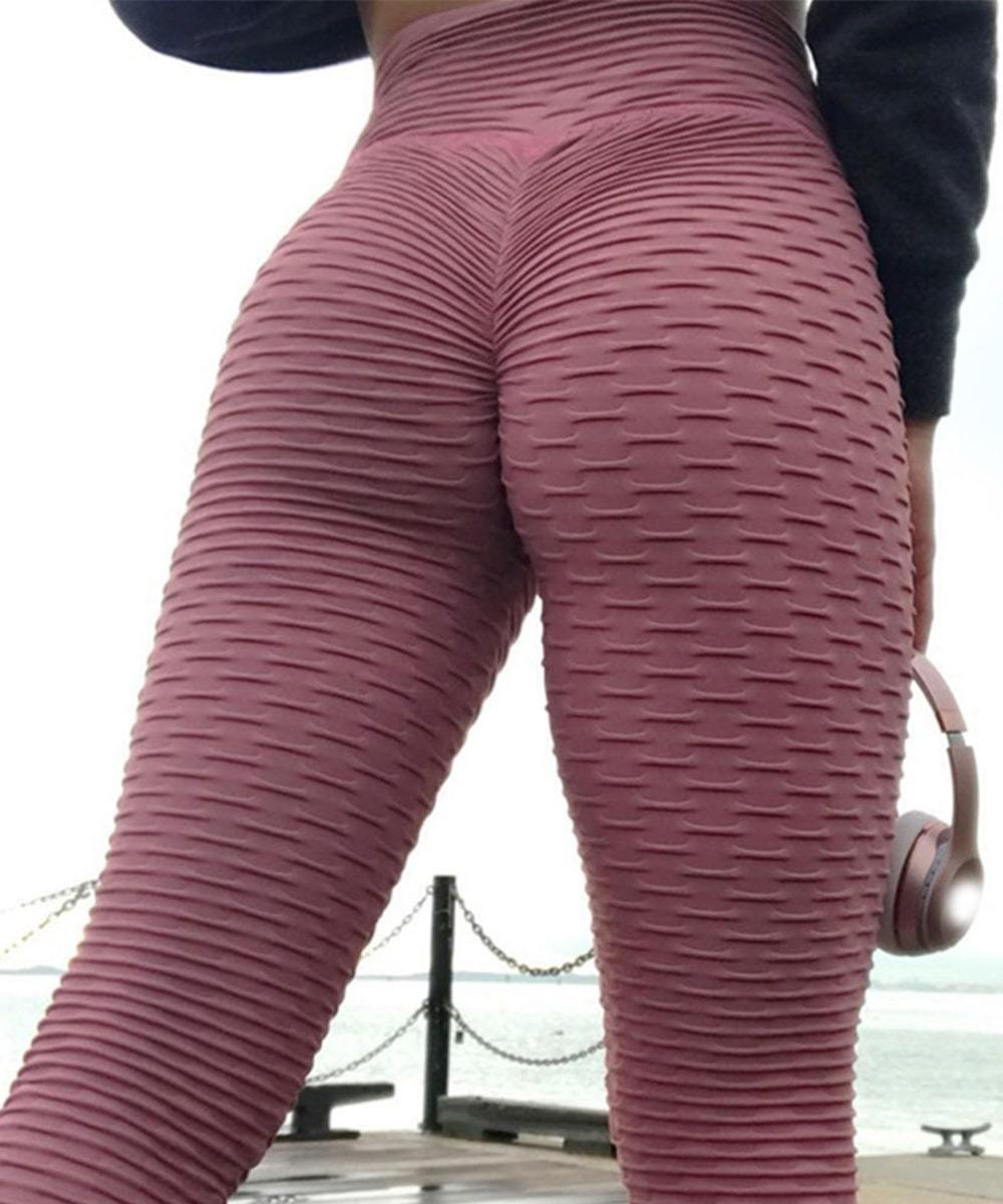 High Waist Textured Weight Loss Anti-Cellulite Booty Scrunch Push Up Leggings
