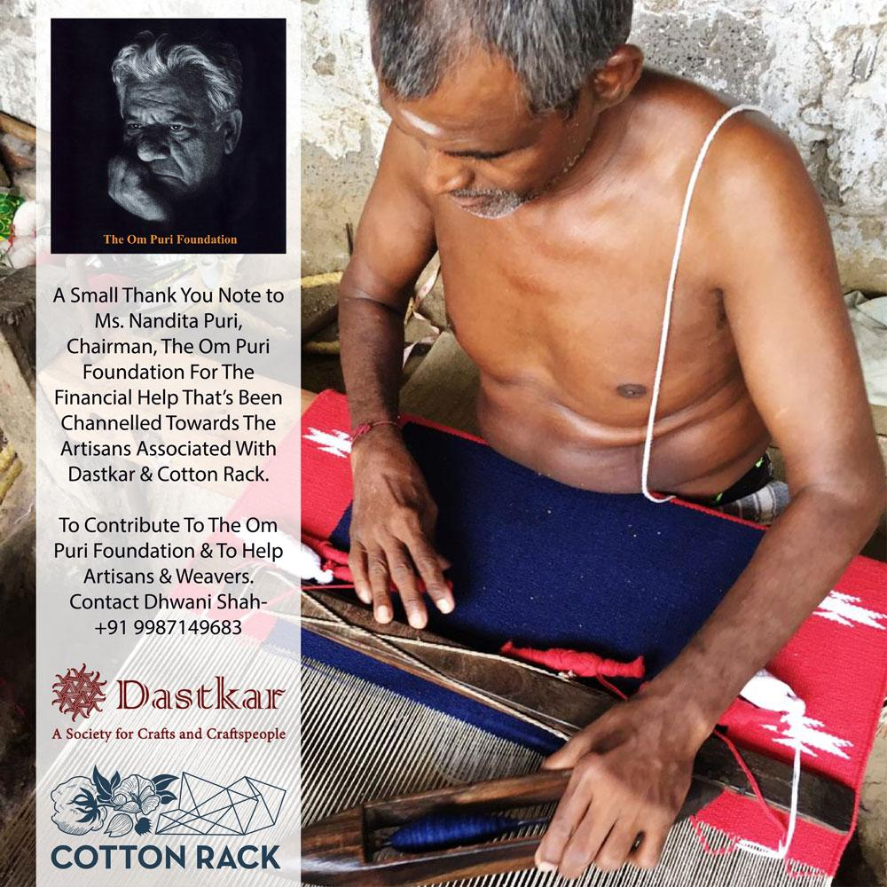 Poster of an Indian Handloom weaver while weaving alonwith a thank you note and a photograph go Actor Om Puri and Dastkar Logo