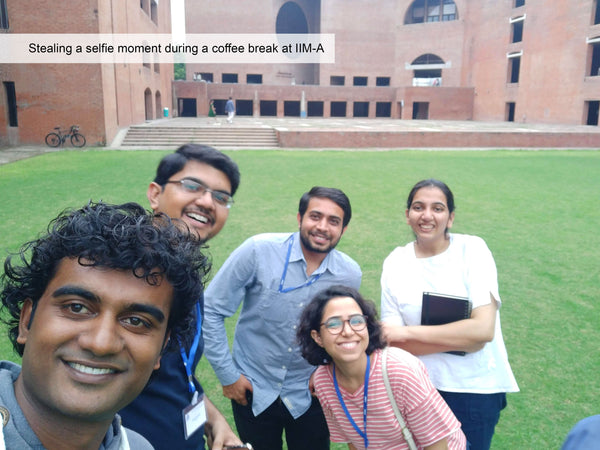 Coffee break selfie at IIM Ahmedabad during SAP Social Entrepreneurship Program