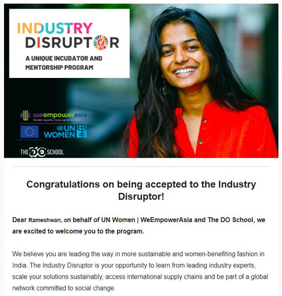 Poster of Industry Disruptor, a UN Women, We Empower Asia and The DO School initiative mentioning and congratulating Rameshwari Kaul for being accepted to the programme.