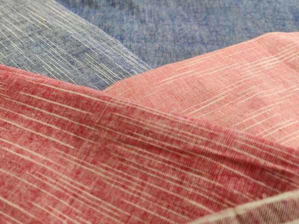 Regular Space Dyed 60s Cotton Khadi by Cotton Rack in colors like Blue, Pink, Red, etc.