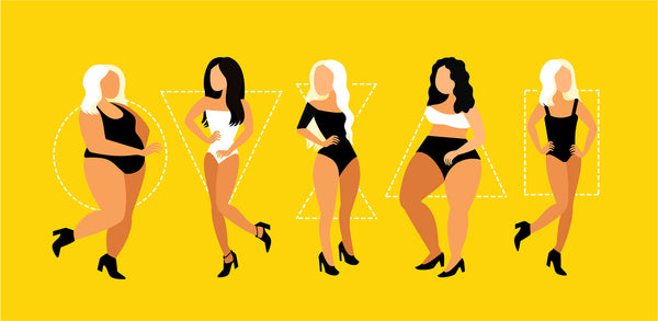 a digital illustration showing different women with different body shapes namely oval, round, triangle, inverted triangle. hourglass and rectangle.