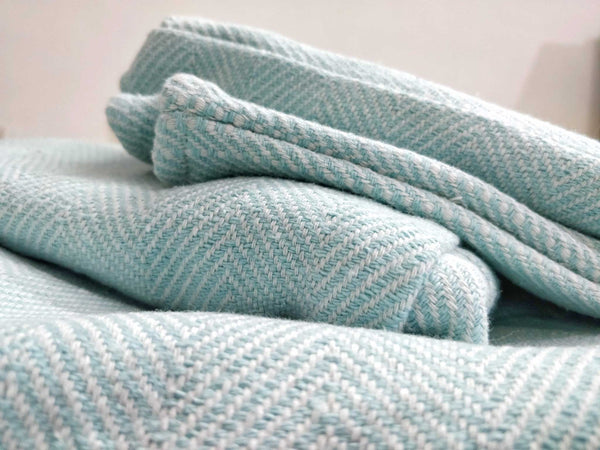 Aqua Blue Khes Khadi Cotton by Cotton Rack with pointed twill weave.