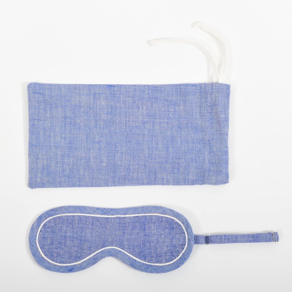 A close-up image from the top of the blue space dyed eye mask and it's co-ordinated cover made in handspun and handwoven khadi cotton by Cotton Rack.