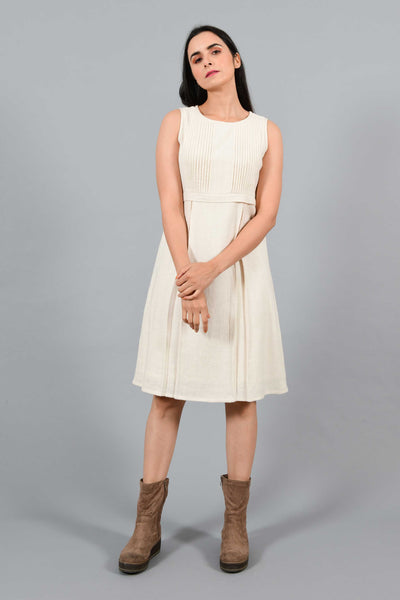 Arctic White- Pleated Dress
