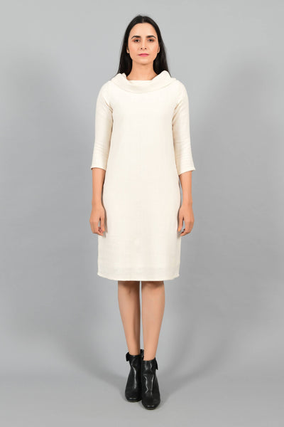 Glacier White- Cowl Neck Dress