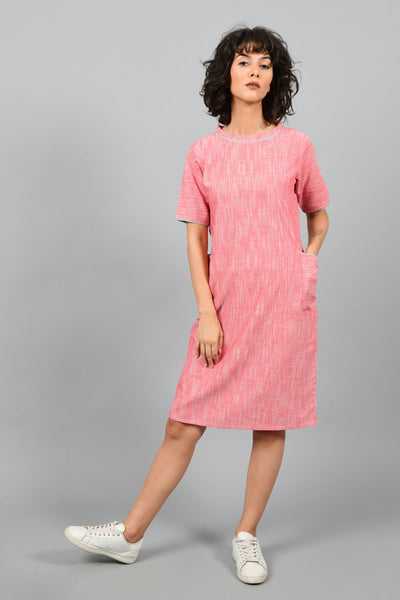 Nectar Pink- Straight Boat-Neck Dress