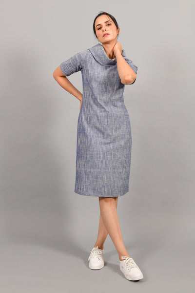 Puddle Blue- Cowl Neck Dress