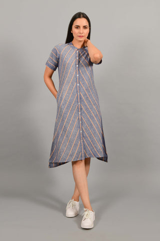 Tempest Blue- Shirt Dress-Kurta