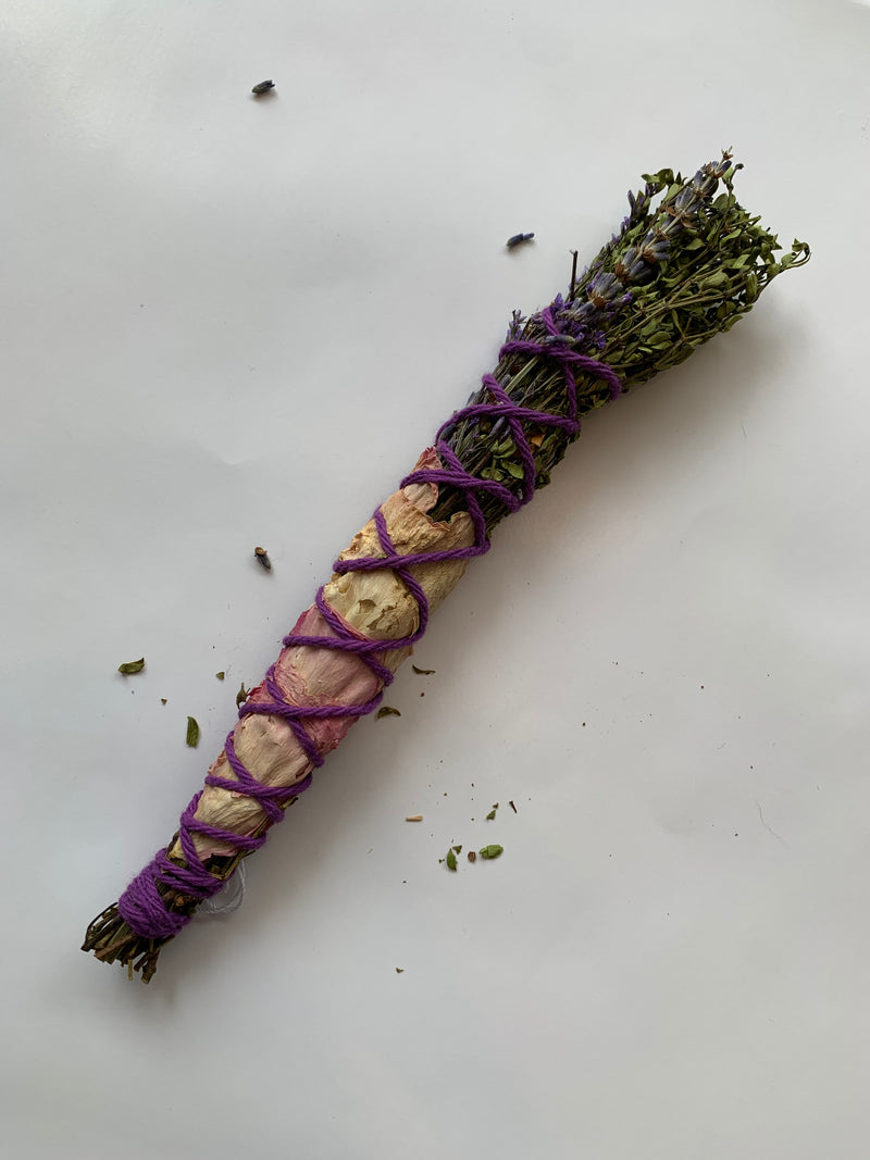 Small Pink Herbal Smudge Wand
