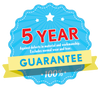 5 YEAR GUARANTEE - Against Defects in Material & Workmanship (excludes Wear n' Tear)