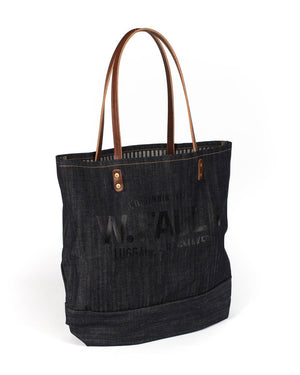 Wood and Faulk Denim Grocery Tote