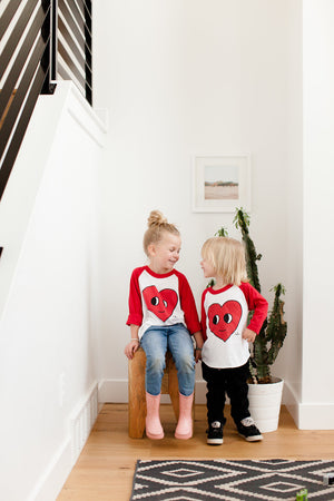 Happy Heart Kids Baseball Tee