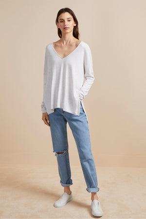 Heather Knit V-Neck Dove Grey