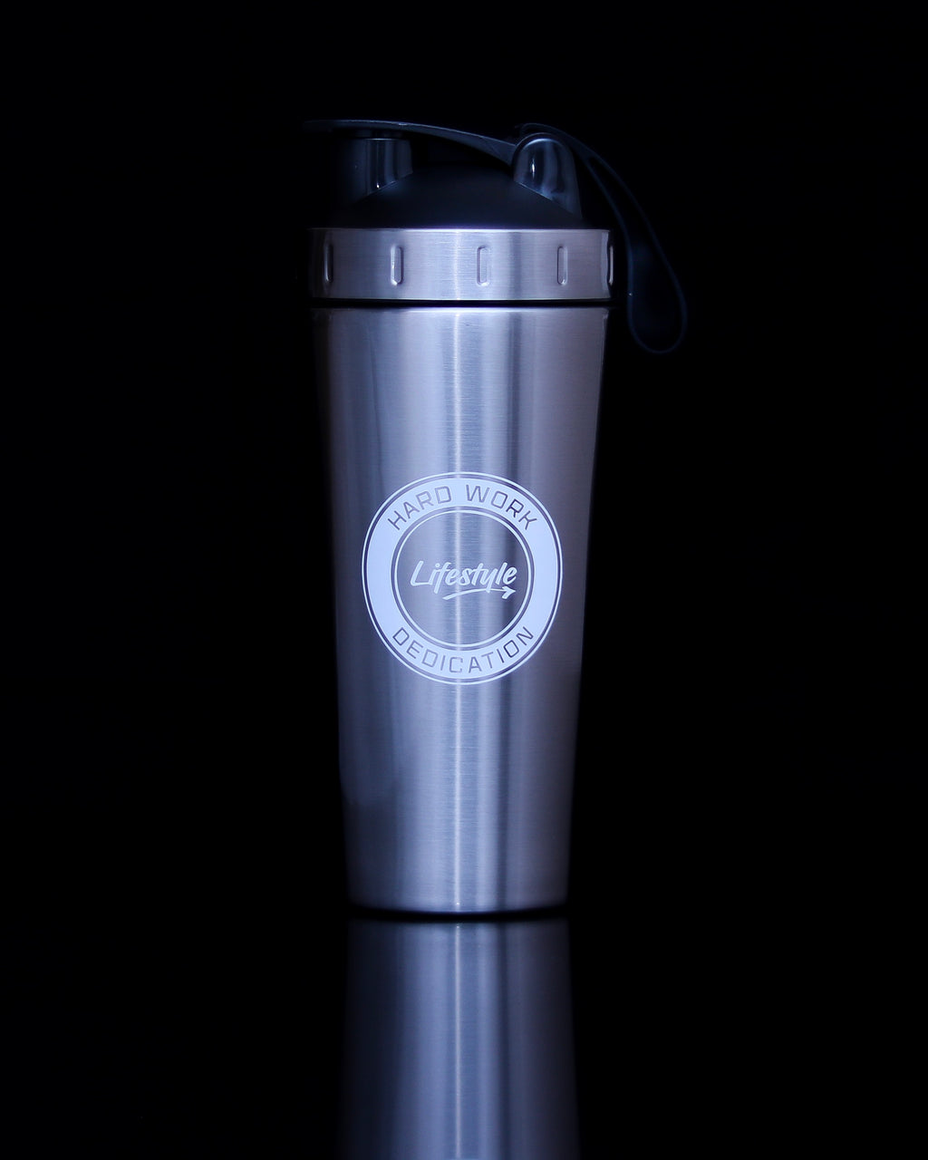 Premium Steel Shaker Bottle - Silver/White Logo (New)